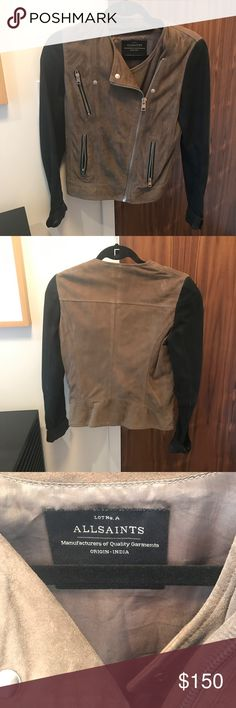 All Saints Suede Jacket All Saints green and black suede jacket All Saints Jackets & Coats