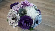 Purple paper flower bouquet with sheet music accents by regular frills - purple, lilac and gray wedding - www.facebook.com/regularfrills