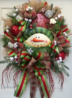 christmas snowman mesh burlap wreath by williamsfloral on etsy