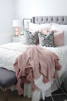 pink and grey bedding rachel puccetti. I am so excited to finally share my room reveal with you all! It has been one of my most requested posts! I hope this gives you a little room inspiration! Pink And Grey Bedding, Pink And Grey Room, Pink White, Neutral Bedding, Pink Sofa, Black White, Grey Bedroom Decor, White Bedroom, Bedroom Ideas
