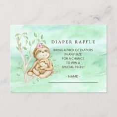 Sweet Sloth Baby Shower Diaper Raffle Ticket Enclosure Card Baby Shower Invitation Cards, Baby Shower Invitations For Boys, Baby Invitations, Safari Party, Safari Theme, Baby Shower Diapers, Baby Boy Shower, Baby Sloth, Pack Of Diapers
