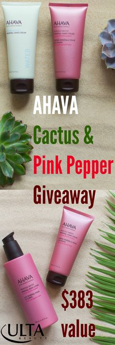 GIVEAWAY!  ENTER $383 @ahavaus Cactus & Pink Pepper Giveaway http://www.beautystat.com/site/skincare/giveaway-review-ahava-cactus-pink-pepper-mineral-hand-cream-mineral-body-lotion-and-dry-oil-body-mist/ You can win the entire AHAVAPinkPepper skincare collection plus a $250 @ultabeauty Gift Card (giveaway ends 9/18/15) ad