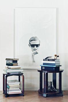 Artist Michael Zavros' home   books and artwork