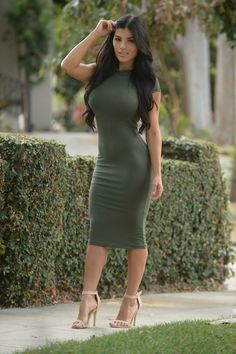Available in Olive, Burgundy and Black Mock Neck Cap Sleeve Midi Length Made in USA 96% Rayon 4% Spandex