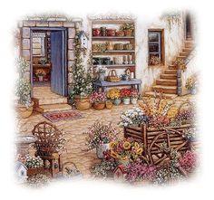 Courtyard Flower Shoppe Print By Janet Kruskamp Flower Pots Blues Art