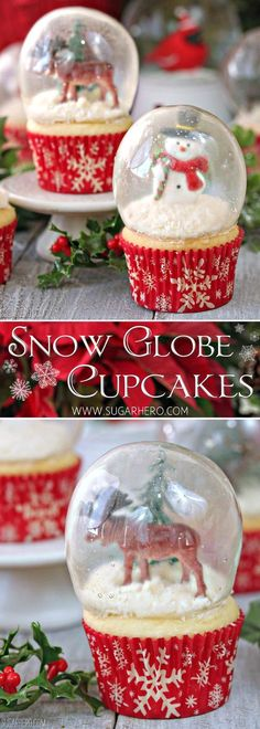 Snow Globe Cupcakes - the BEST Christmas cupcakes! Made with gelatin bubbles, so. - Snow Globe Cupcakes – the BEST Christmas cupcakes! Made with gelatin bubbles, so the entire cupca - Christmas Sweets, Christmas Cooking, Christmas Goodies, Holiday Baking, Christmas Desserts, Holiday Treats, Christmas Fun, Christmas Cupcakes Decoration, Xmas