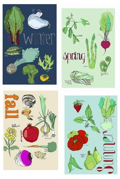 Pretty #vegetable #posters, perhaps for a #kitchen :)