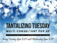 Good morning everyone!!! Join me tonight for a 'Tantalizing' good time in a multi-consultant sale!!! Loads of new inventory and some special unicorns!!! Party starts at 8pm EST and runs for 24 hours!!!  https://www.facebook.com/groups/TantalizingTuesdayLuLaRoeMultiConsultantSale/