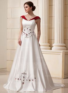 A-Line/Princess V-neck Chapel Train Satin Wedding Dresses With Embroidery Lace Sashes Beadwork - JJsHouse. Ivory with Black accents instead. Wedding Dresses Uk, Wedding Dress Sash, Tulle Wedding, Bridal Gowns, Bridesmaid Dresses, Lace Beadwork, Color Ivory, Mi Long, Special Occasion Dresses