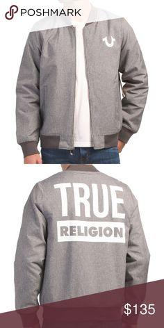 5e534f2ef7a TRUE RELIGION MENS BOMBER JACKET GRAY WHITE NWT BRAND NEW TRUE RELIGION  MENS BOMBER JACKET