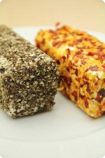 Crushed pepper corn goat cheese log