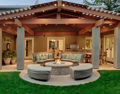 Extended circular fire pit, transparent frosted roof panels for extra light.