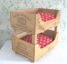 Pet products - Baxter and Snow - Recycled wooden wine boxes - Beautiful accessories for your home, stylish products for your pets and craft storage solutions. Cat Bunk Beds, Pet Beds, Dog Bed, Stuffed Animal Storage, Diy Stuffed Animals, Cat Crafts, Animal Crafts, Wooden Wine Crates, Fancy Dog Collars