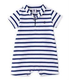 Combicourt bébé garçon en jersey lourd blanc Ecume / bleu Source - Petit Bateau
