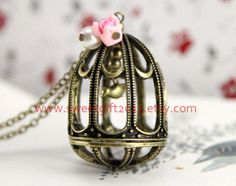 birdcage necklace Vintage style antique bronze by sweetgift2013, $3.99