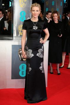 Tame for Cate, but lovely nonetheless. (in Alexander McQueen at the 2014 BAFTA Awards)