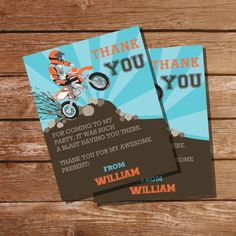 Dirt Bike Party Thank You Cards Party Favors by SunshineParties