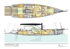 Futuna 70 aluminum composite sail yacht - interior plans Marc Lombard