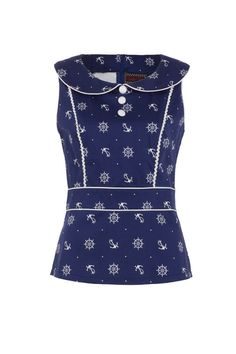 The 'Philomena' fitted top with white buttons would look super cool with white Capri pants! Available online now -->  http://www.claireabellascloset.co.uk/component/hikashop/product/1629-voodoo-vixen-philomena-navy-nautical-top?Itemid=126