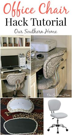 Office chair hack tutorial with simple upholstery make the workspace more comfortable and stylish by Our Southern Home for a farmhouse look.
