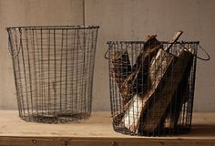 Round Vintage Utilitarian Wire Baskets (Set of - Barn Light Electric Co.