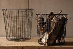Round Vintage Utilitarian Wire Baskets (Set of - Barn Light Electric Co. Large Wire Basket, Vintage Wire Baskets, Metal Baskets, Firewood Basket, Barn Light Electric, Traditional Baskets, Industrial Shelving, Barn Lighting, Fireplace Design