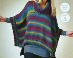 K3482 Ladies Square Poncho Chunky (Bulky) KC