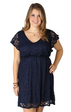 Deb Shops Plus Size #Lace Dress with Flutter Sleeves and Elastic Waist $42.90