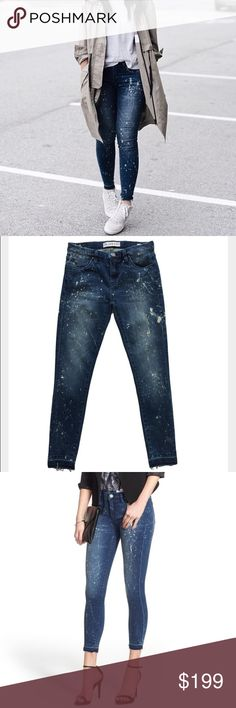 "[BLANKNYC] paint splatter jean Blank NYC Color/Pattern: Reef Blower Inseam 27""  8.5"" Front Rise Leg Opening Has An Approximate 9"" Circumference Belt Loops, Whiskering And Fading Details, Splatter Detailing, Raw Cut Hem, Four-Pocket Style, Zip Fly With Button Closure. 91% Cotton, 7% Polyester, 2% Spandex. Machine Wash  No trades. All sales final. BlankNYC  Jeans Ankle & Cropped"