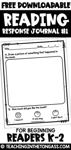 Reading Log Printable Free A reading response journal First Grade and Kindergarten. Perfect for beginning readers! Reading Log Printable Free A reading response journal First Grade and Kindergarten. Perfect for beginning readers! Reading Response Journal First Grade, Reading Response Activities, First Grade Reading, Reading Intervention, Reading Lessons, Reading Fluency, Reading Worksheets, Reading Response Log, Kindergarten Reading Log