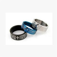Couple Cross Ring Bible Text  - Titanium Steel - Jewelry Rings for Women/Man.