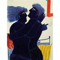 """terminusantequem: """"Alecos Fassianos (Greek, The Kiss, Oil on canvas , x cm """" Modern Art, Contemporary Art, Greece Painting, Value In Art, Painting People, Greek Art, Art Auction, Figurative Art, Collage Art"""