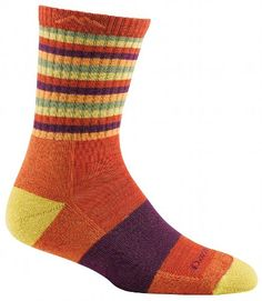 Darn Tough Vermont Women's Merino Wool Micro Crew Cushion Socks, Tomato Stripe, Medium