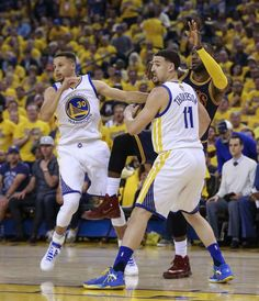 Golden State Warriors' Stephen Curry and Klay Thompson guard Cleveland Cavaliers' LeBron James in the first quarter during Game 1 of the NBA Finals at Oracle Arena on Thursday, June 2, 2016 in Oakland, Calif.