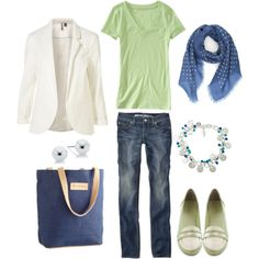 Spring Green and Royal Blue, created by bluehydrangea on Polyvore
