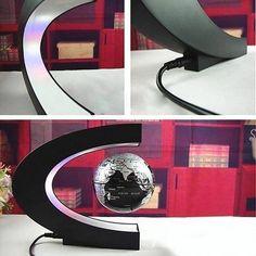 Floating Magnetic Levitation Globe LED World Map Electronic Antigravity Lamp Novelty Ball Light Home Decoration Birthday Gifts Figurines & Miniatures  - Blue / UK  Plug / China
