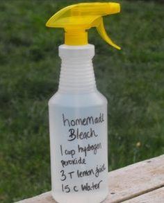 DIY BLEACH:  1 C hydrogen peroxide, 3 T lemon juice, 15 C Water.  *Note: Storing in a dark bottle or cupboard may help active shelf life*