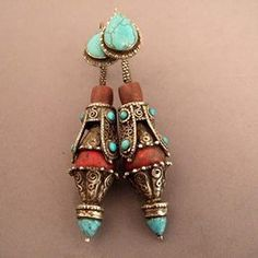 Lhasa, Tibet - old (late 19th century) earrings, silver, bamboo coral, turquoise - Tap the link Now to get access to our unique collections! Get FREE Shipping on all purchases!