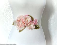 Floral Bridal Sash  Pink Posy Rustic Bridal by BridalSashbyNatalie