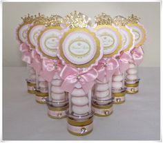Tubo caramelos princess party Pink gold