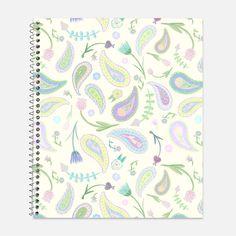 Pastel Paisley Notebook, Waterproof Cover, Journal, Flowers Notebook, Floral Journal, School Supplies, College Ruled