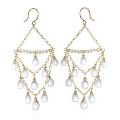 Faceted Rock Crystal Chandelier Earrings - Artisan Design Gallery