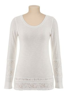 Long Sleeve Slub Knit Tee with Lace (original price, $24) available at #Maurices