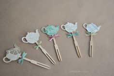 Tea Party Decorations Tea Pot Cupcake Toppers Set by DelilahIris, $7.00