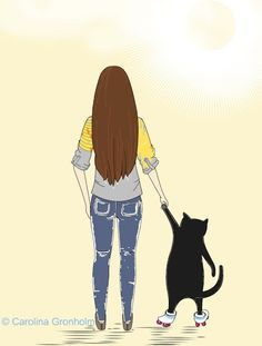 Cat of the Day:  Sunday Morning Walk no 2 Sunny Day A5 Size Cat by latenightdrawing, $15.00