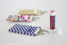 Sewing Projects To Sell DIY Fabric Chapstick Holder.attach to purses, backpacks, keychains, etc. Craft Tutorials, Sewing Tutorials, Sewing Projects, Craft Ideas, Sewing Ideas, Sewing Crafts, Fabric Flower Tutorial, Fabric Flowers, Homemade Christmas Gifts