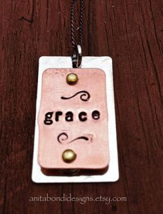 GRACE InterPlay texturized hand stamped  by AnitaBondiDesigns, $27.00