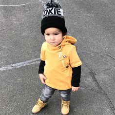Mondays in style  Gorgeous Benjamin rocks The Crescent in mustard colour  our unique super soft hoodie strap jumper  also available in black and also grey sizes 0-6 years  http://ift.tt/1TgQUwL or tap link in bio #mischiefandco #springfashion #kidsfashion #winterfashion  @dear.benjamin
