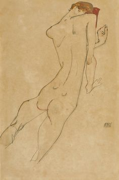 'Weiblicher Rückenakt' - (1913) - Egon Schiele. Gouache, watercolour and pencil…