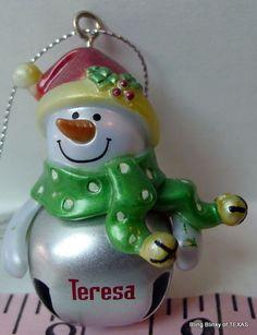 Jingle Bell Mini Snowman  #TERESA Christmas Name Ornament